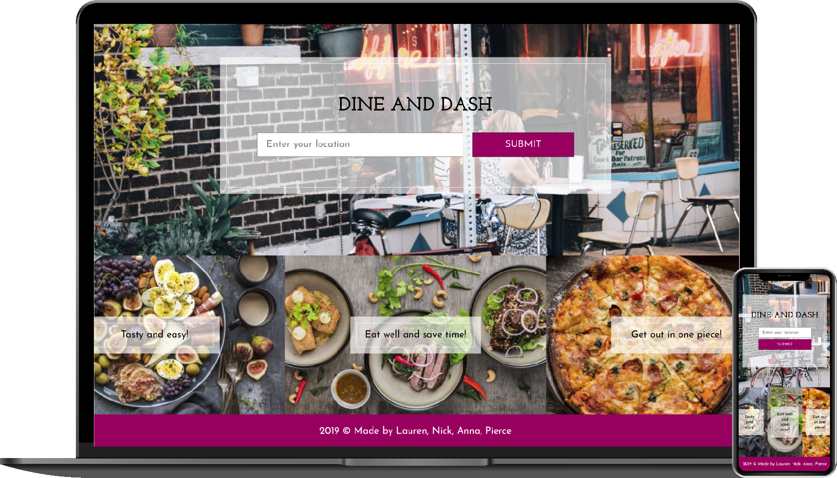 Screenshot of the Dine and Dash application